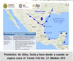 Hoy entra el Frente Frio 17 al Estado de Veracruz; heladas y lluvias