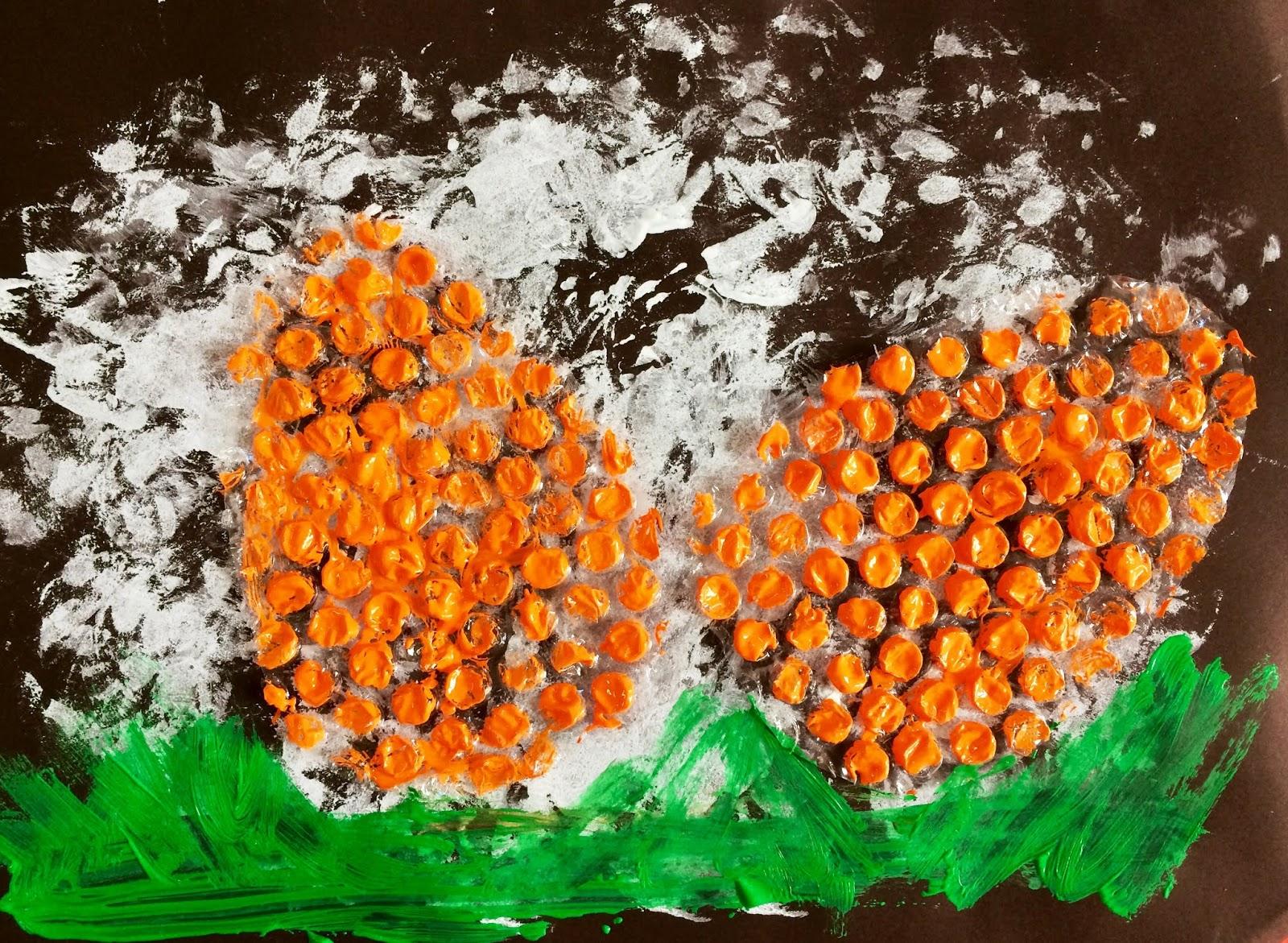 """Pictură pe folie cu bule de aer: """"Ouă de Paști"""""""