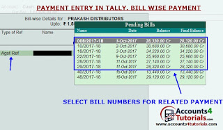 how to enter billwise payment entry in tally