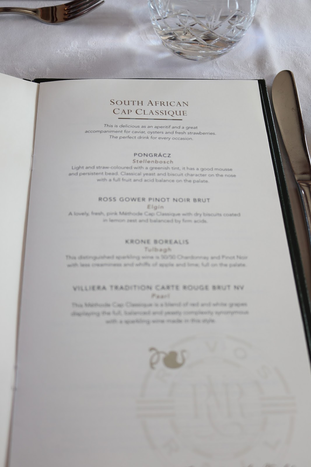 Rovos Rail, Pretoria to Durban, Food menu