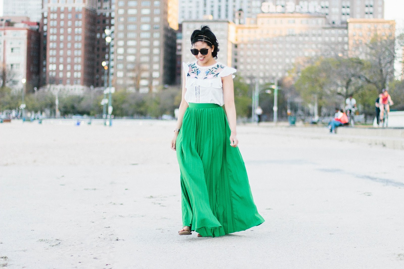 One of the biggest trends this Spring is embroidery and pleated maxi skirt.