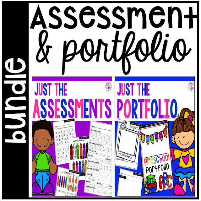 Assessments & Student Portfolios! Assessment pages, student pages, portfolio binders, teacher data pages (class and individual), progress reports, and tons of editable parts too for Preschool & Kindergarten Portfolio & Skills Assessments made EASY!