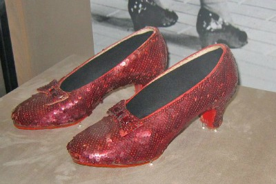 Photograph of Display of Ruby Slippers worn by Dorothy in The Wizard of Oz
