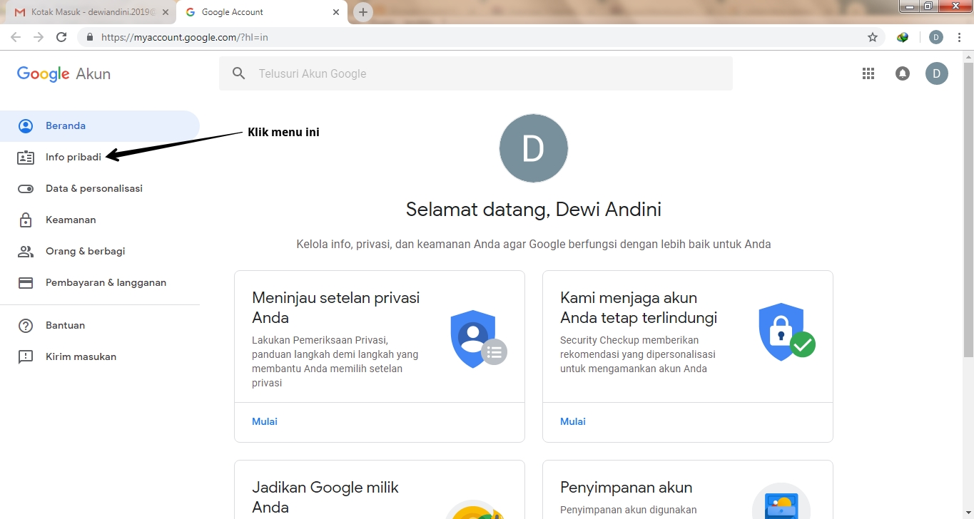 Mengganti Password Akun
