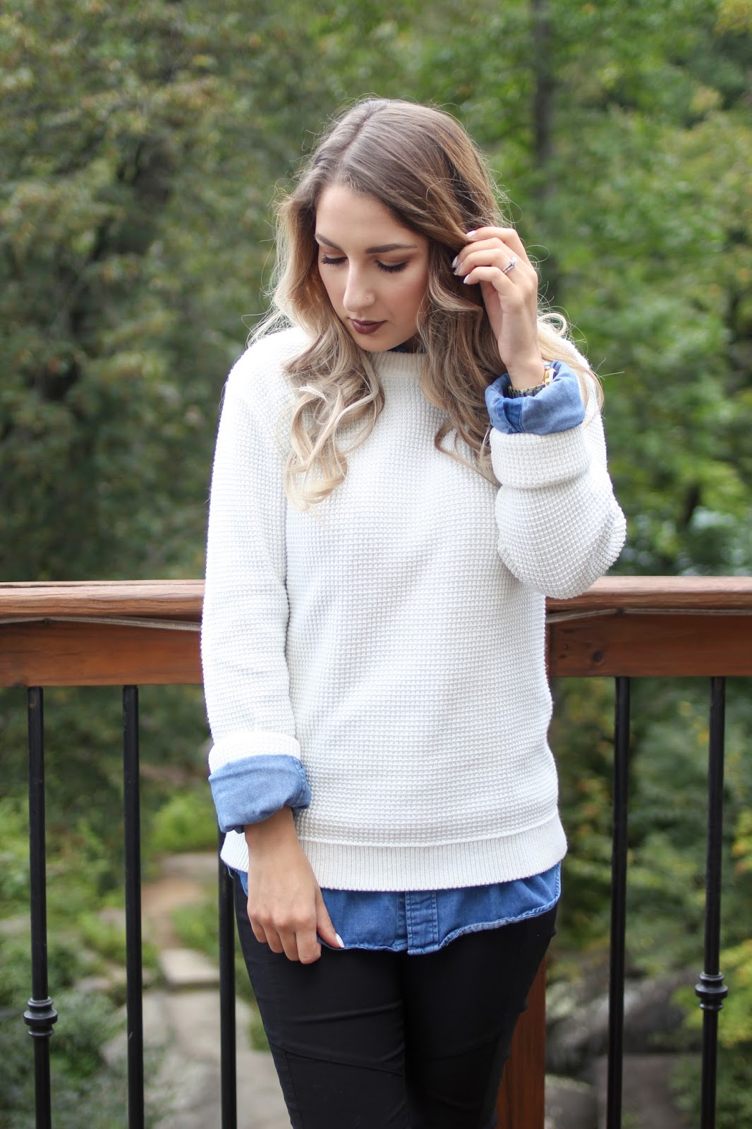 COZY LAYERED LOOK // WHITE SWEATER & DENIM TOP - A Classy Fashionista
