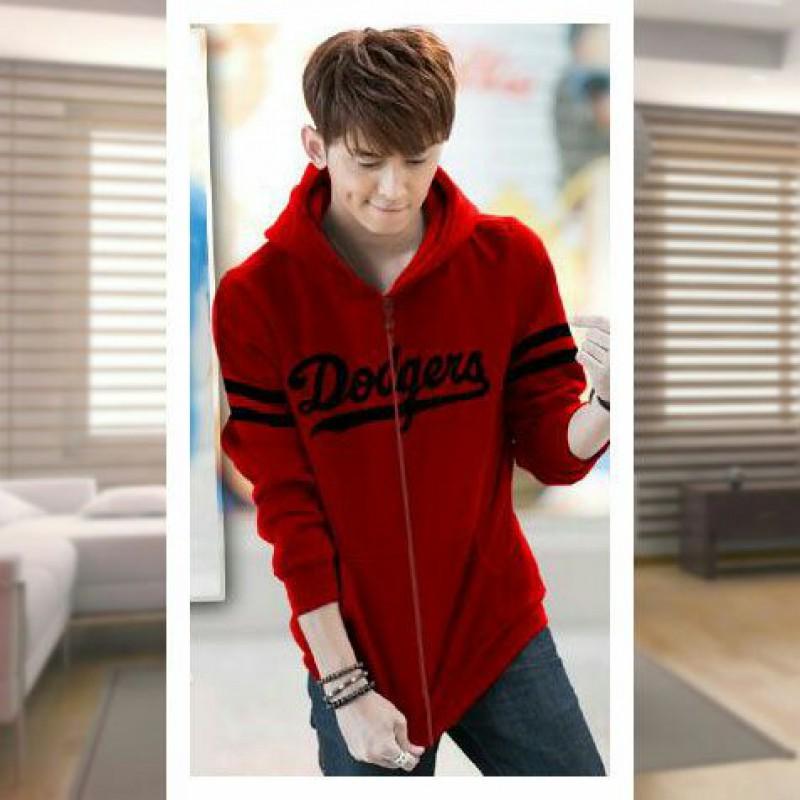 Jual Online Men Jacket Dodgers Red Jakarta Bahan Babytery Terbaru