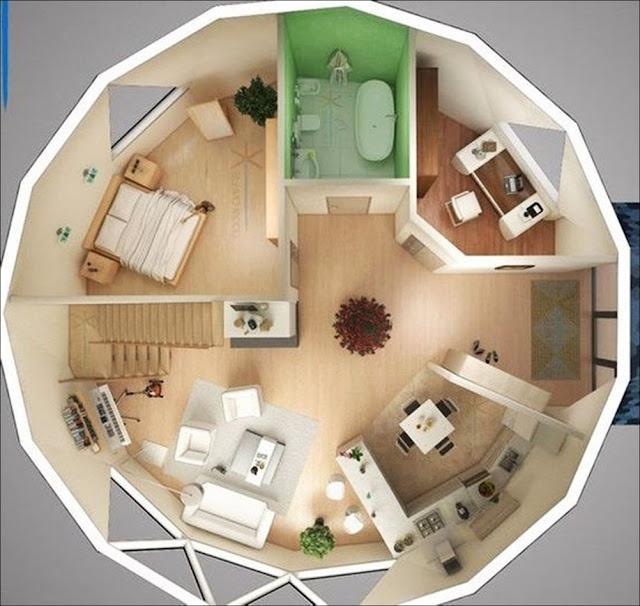 Planta de casa redonda com 2 quartos e 1 banheiro