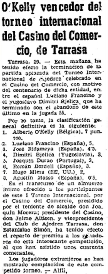 I Torneo Internacional de Terrassa 1960, crónica final