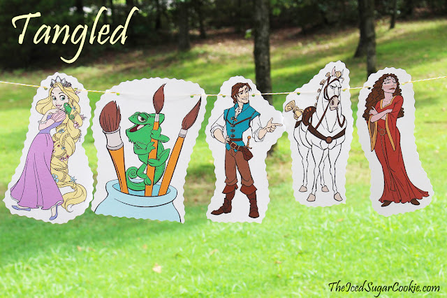 DIY Tangled Birthday Party Rapunzel Flag Hanging Banner Ideas- Pascal Lizard, Flynn Rider, Maximus Horse, Mother Gothel by The Iced Sugar Cookie