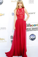 Taylor Swift Red Carpet Dress Sleeveless A-line Lace Chiffon Long Celebrity Dress