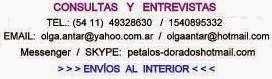Petalos Dorados de Olga Antar. Datos de contacto.