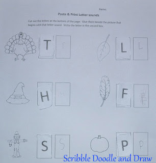 Thanksgiving printable learning beginning letter sounds