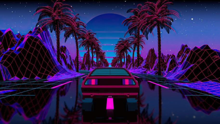 Retrowave, Car, Night, Scenery, Palm, Trees, 4K, #4.3065