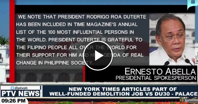 Watch: New York Times articles part of well-funded demolition job vs PRRD