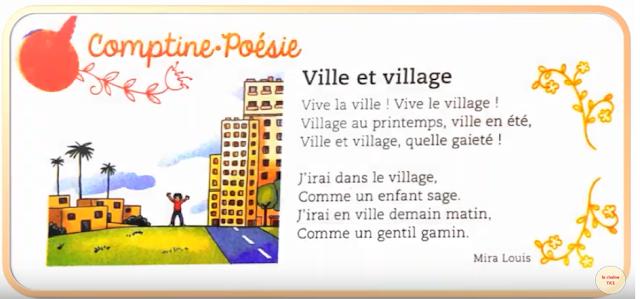 Comptine_Poésie : ville et village - mes apprentissages en français للمستوى التعليم الإبتدائي