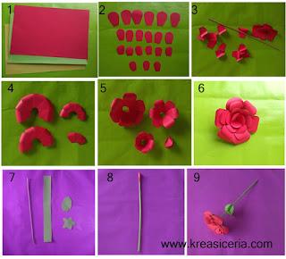 Cara membuat bunga mawar indah dari kertas bufllo warna-warni