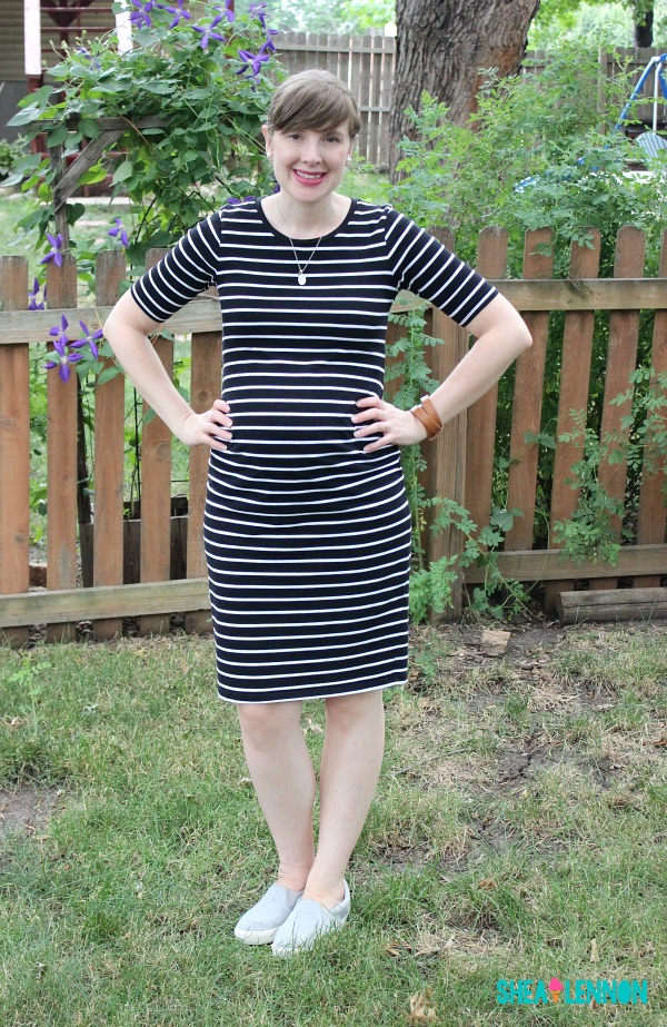 A striped dress is perfect for a casual summer weekend, just add simple jewelry, slip on sneakers, and bright lipstick for fun.