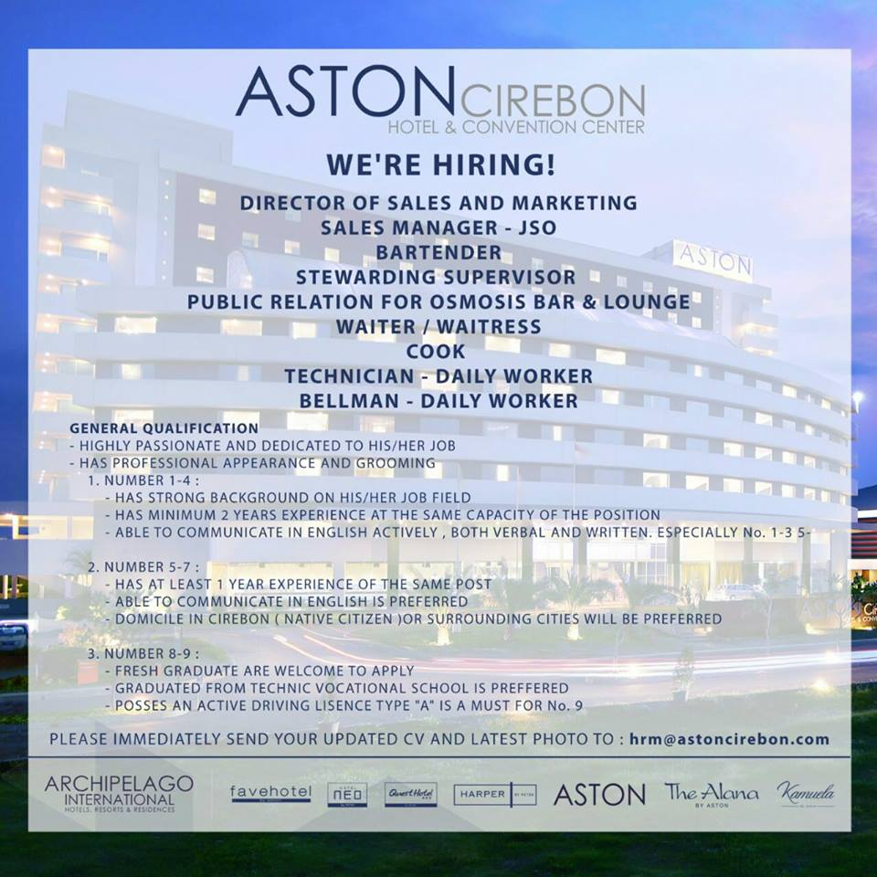 Lowongan Kerja di Hotel Aston Cirebon bulan Maret 2017