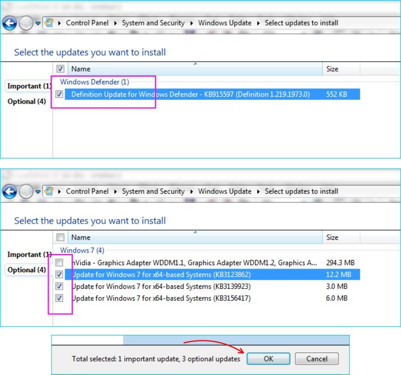 Update Windows 7 - Pilih Sistem Yang Akan Diperbaharui