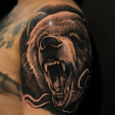 angry grizzly bear tattoo