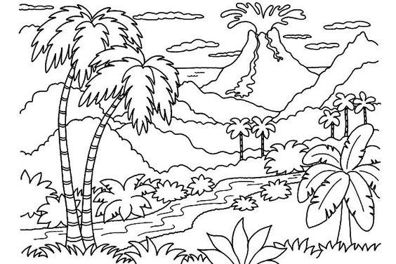 Tranh tô màu phong cảnh làng quê