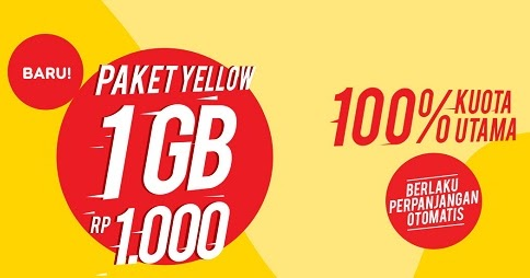 Paket Yellow IM3 Ooredoo : Kuota 1 Gb Cuma Rp.1000