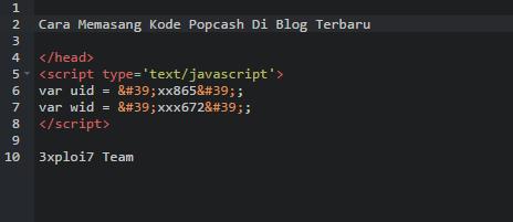 Cara Memasang Kode Iklan Popcash di Blog Terbaru | Dapet Uang Dari Blog