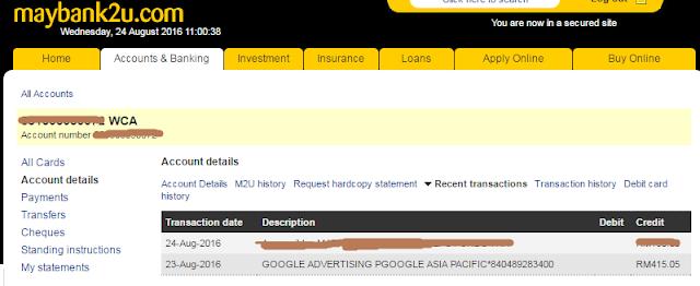 Terima Income Google Adsense Bagi Bulan Julai 2016