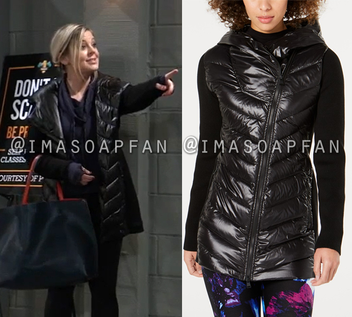 Maxie Jones, Kirsten Storms, Black Asymmetrical Puffer Coat with Sweater Sleeves, General Hospital, GH
