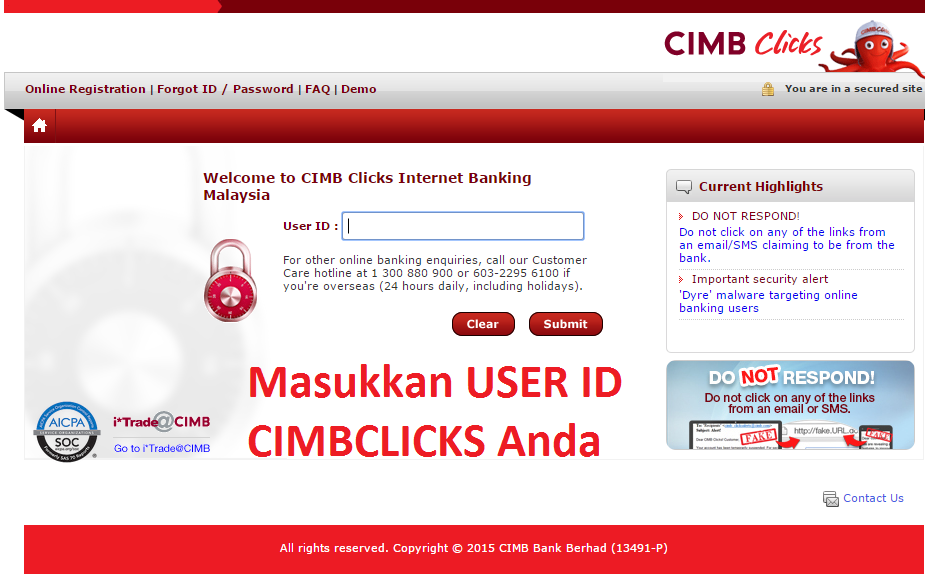 Menu Login CIMBClicks