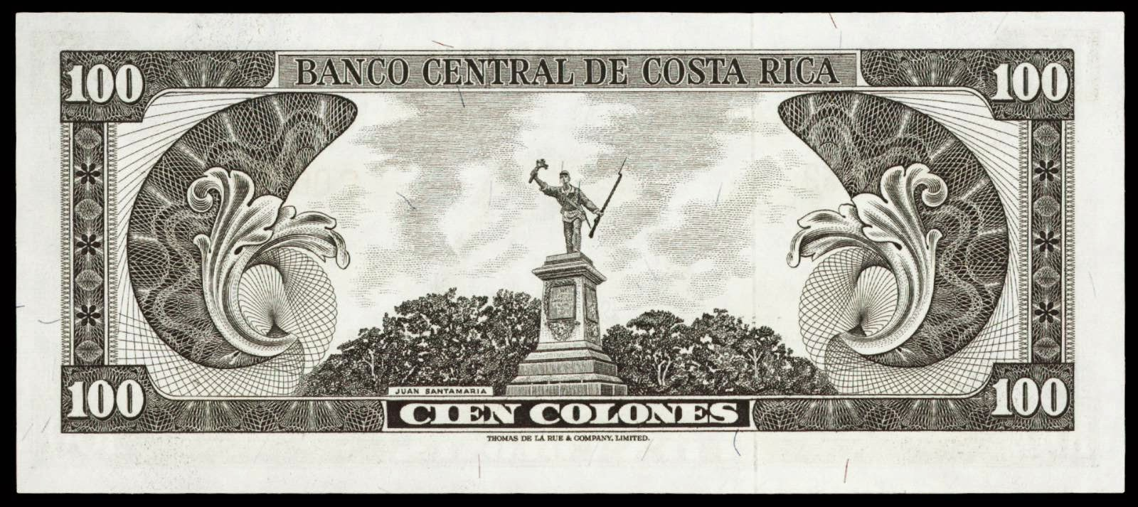 Costa Rica money currency 100 Colones banknote 1967 Statue of Juan Santamaria