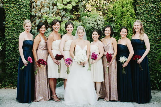 Mismatched Navy Bridesmaids Dresses