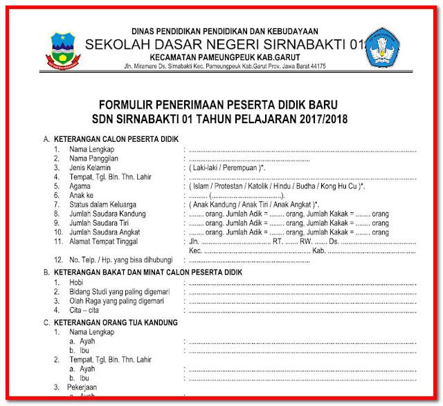Formulir Penerimaan Siswa Baru Tahun Ajar 2017/2018 Format Word.Docx