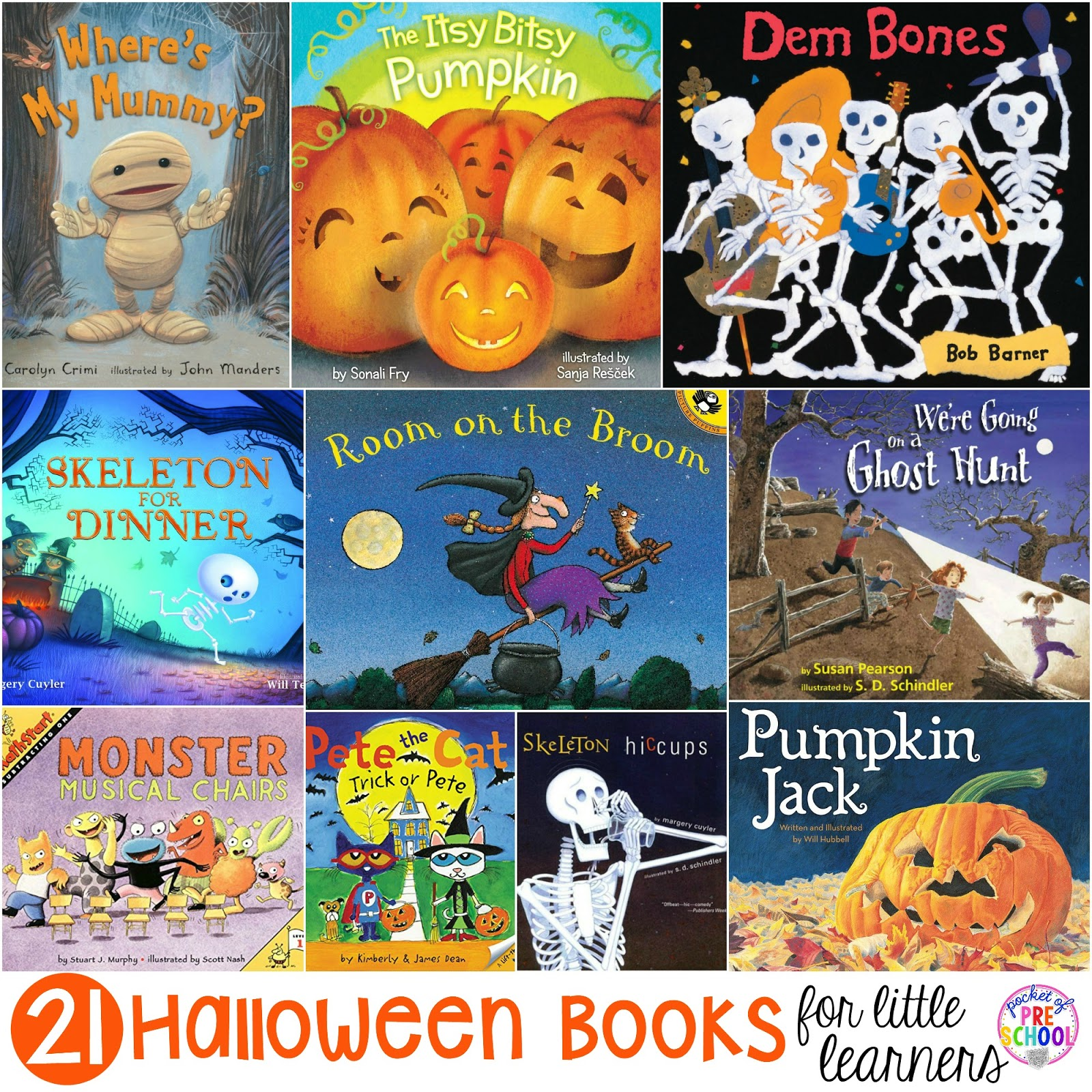 halloween books for little learners - pocket of preschool