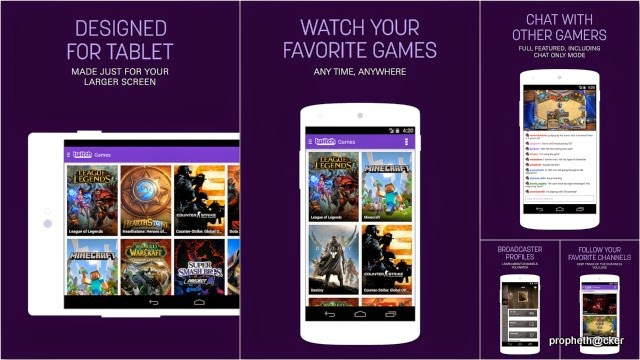 Twitch Android App/Website for Live Streaming of Gameplay Video