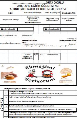 5 Sınıf Matematik Proje ödevleri Ortaokul Matematik Ortaokul