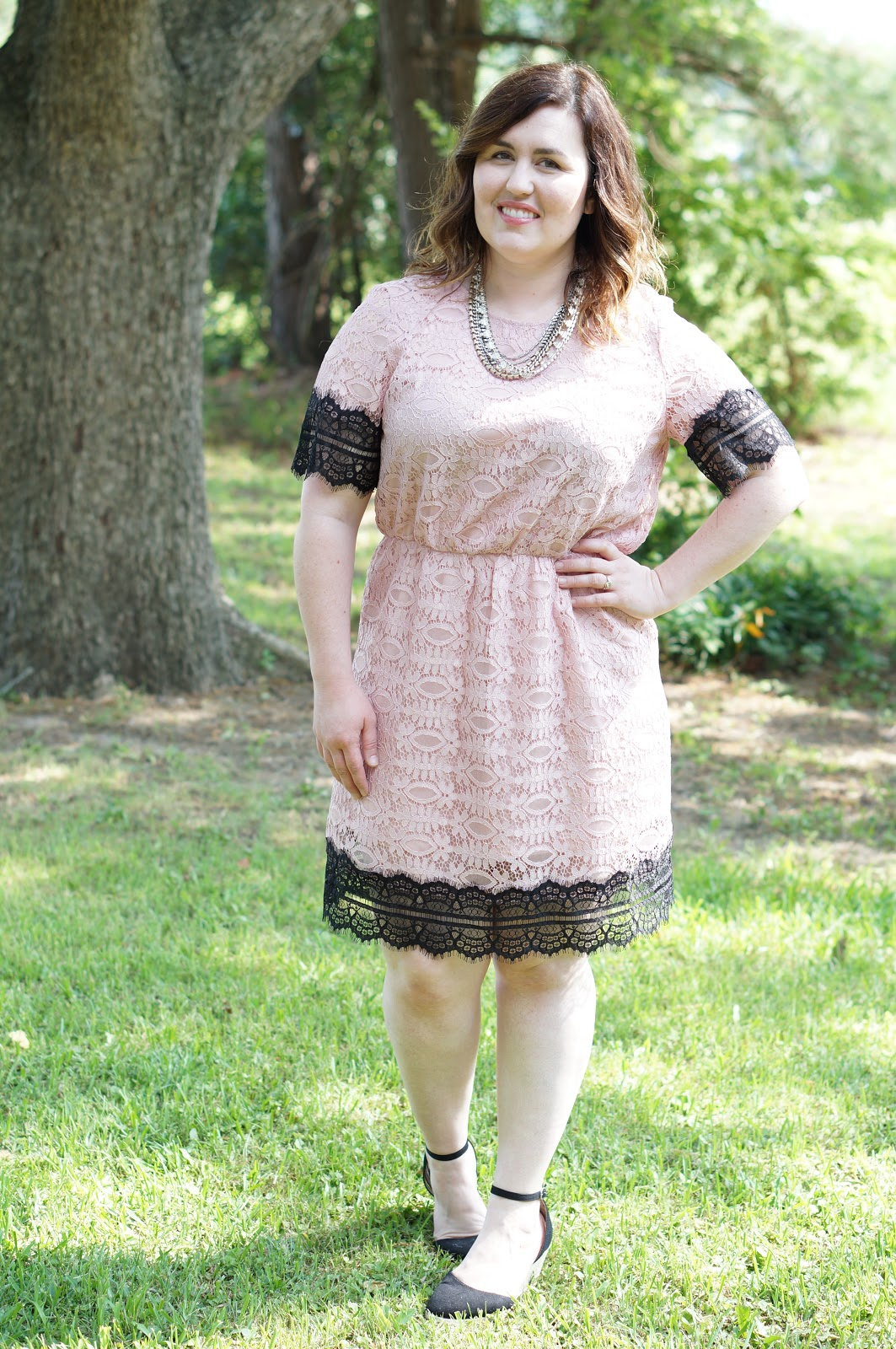 Rebecca Lately Pink Black Lace Dress Black Wedges Stella & Dot Sutton Necklace