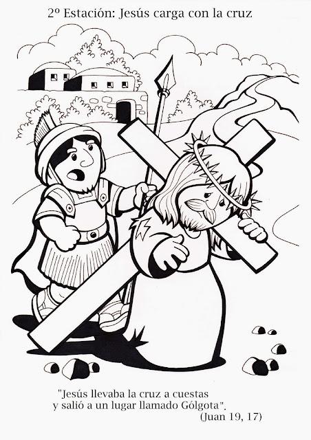 Parroquia La Inmaculada: Viacrucis para niños: colorear y