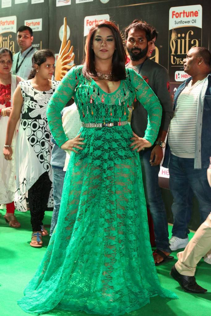 Telugu Actress Mumaith Khan At IIFA Awards 2017 In Green Dress