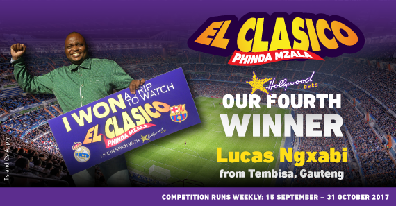 Meet the 4th winner of Hollywoodbets' 2017/18 El Clasico promotion, Lucas Ngxabi from Tembisa!