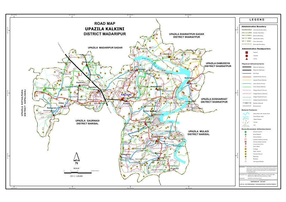 Kalkini Upazila Road Map Madaripur District Bangladesh