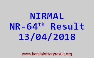 NIRMAL Lottery NR 64 Result 13-04-2018