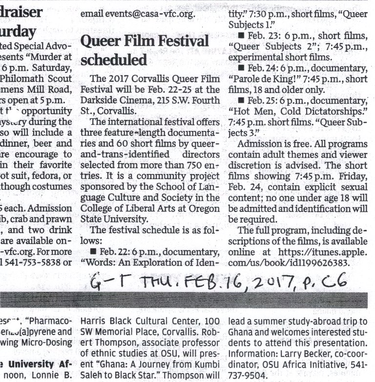 OSU Queer Film Festival Gazette-Times, Feb. 16, 2017, p. C6