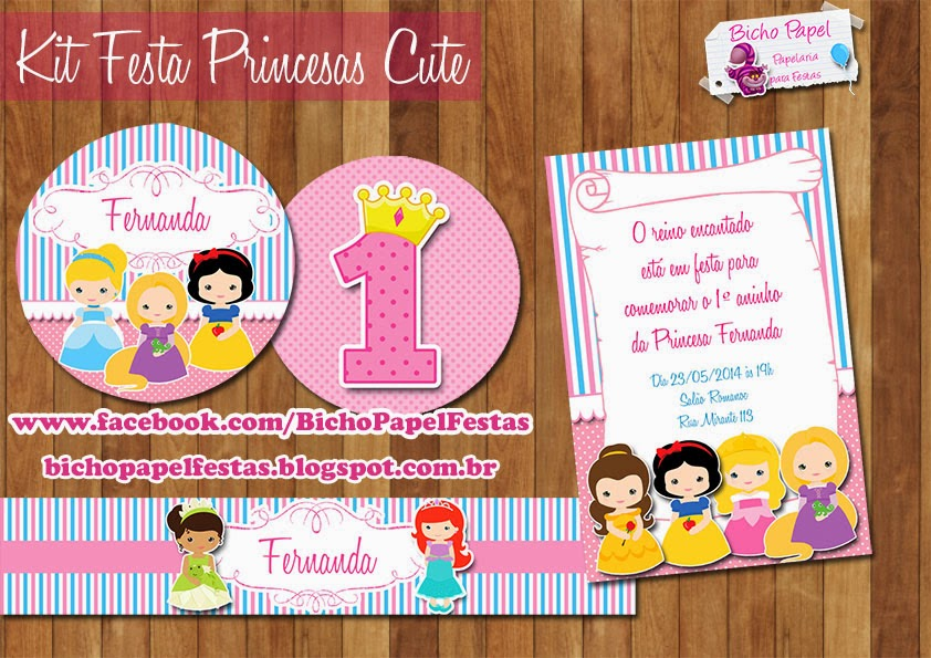 Kit Festa Digital Princesas Cute