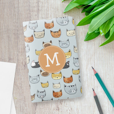 Monogram cat pattern moleskine notebook