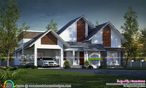 Sloping roof 250 square yards single floor house