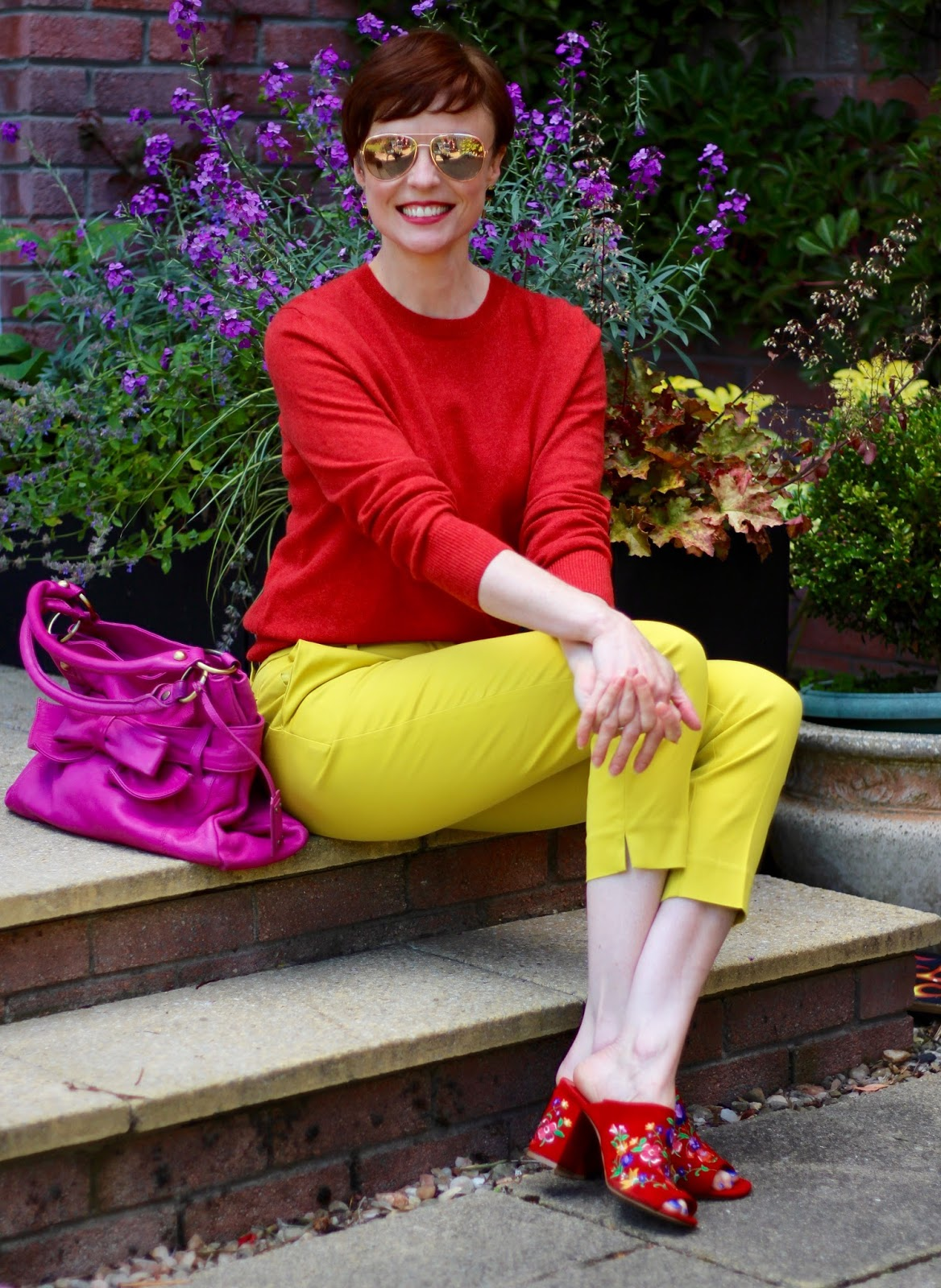 Yellow, red and pink | Bold colour blocking, over 40 | Fake Fabulous