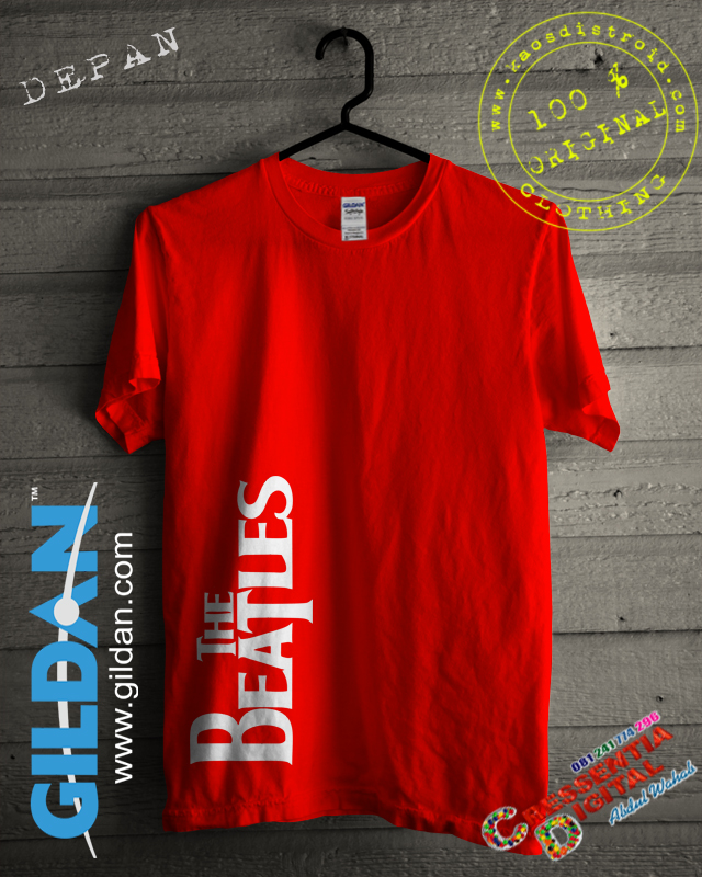 Kaos GILDAN The Beatles Warna Orange