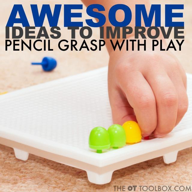 Teaching pencil grasp? Use these fun fine motor activities to improve pencil grasp through play.