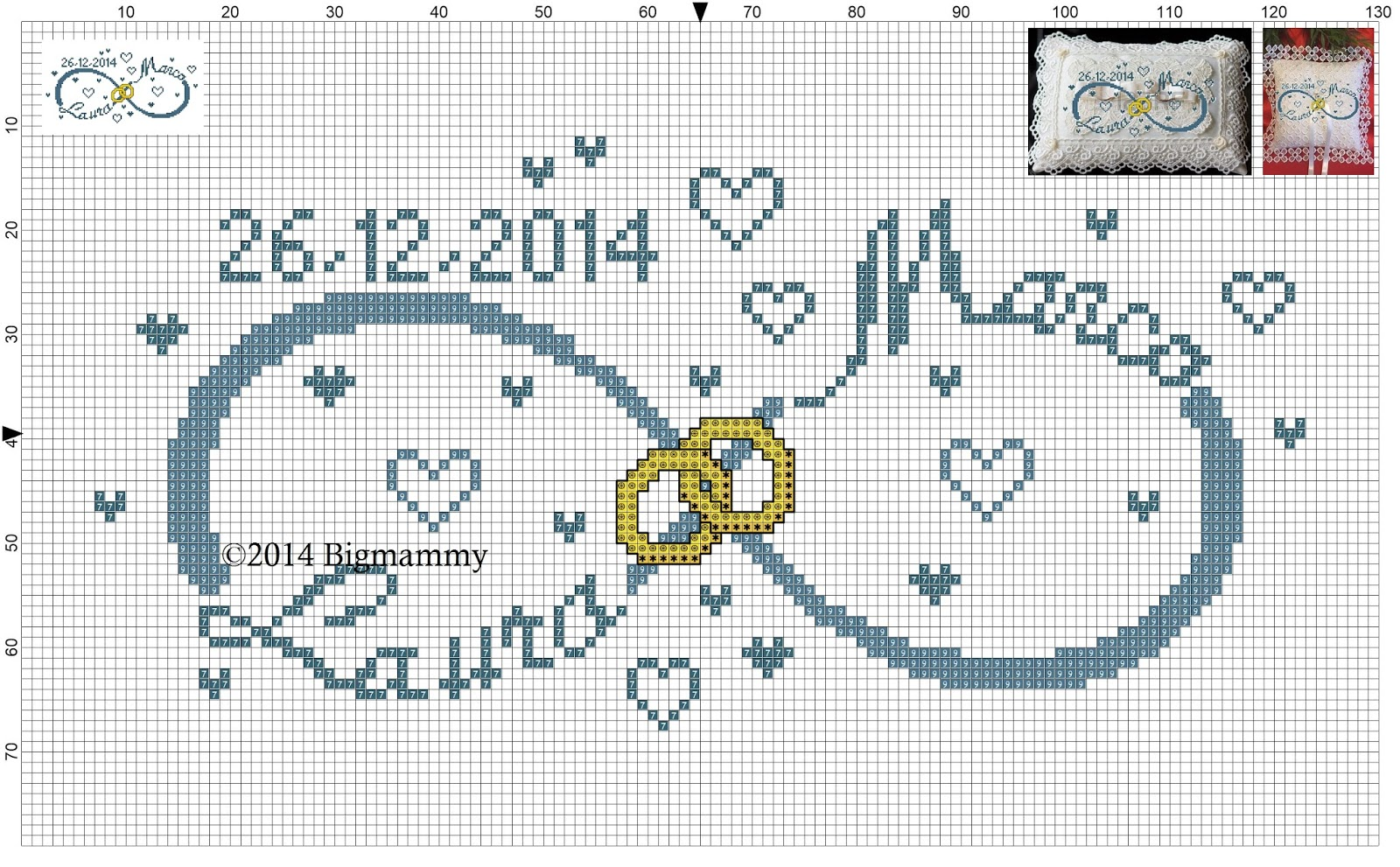 Amorevitacrocette cuscino porta fedi con simbolo infinito nomi e cuori - Cuscino portafedi punto croce ...